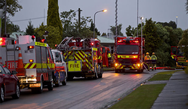 AFTERMATH: Emergency services deal with a chemical spill in Palmerston North following a 6.2 earthquake.