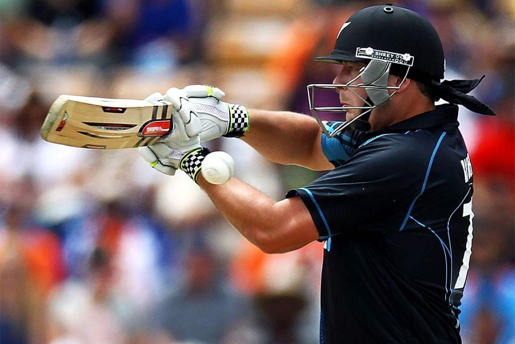 Jesse Ryder of New Zealand bats during the ODI at Seddon Park.