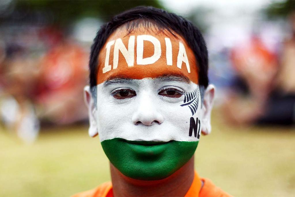 An Indian fan looks the part at the ODI between NZ and India.