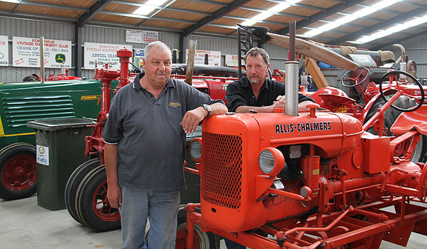 FELLOW ENTHUSIASTS: Edendale Crank Up convener Neil Irwin and Edendale Vintage Machinery club president Robert Leggett chat about the Crank Up event.