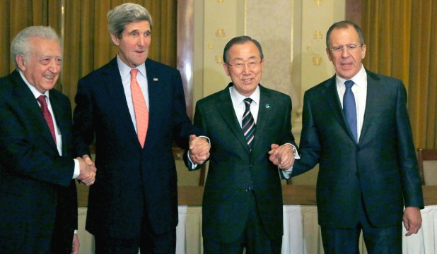 UN-Arab League Envoy to Syria Lakhdar Brahimi, US Secretary of State John Kerry, UN Secretary-General Ban Ki-moon and Russia's Foreign Minister Sergey Lavrov.