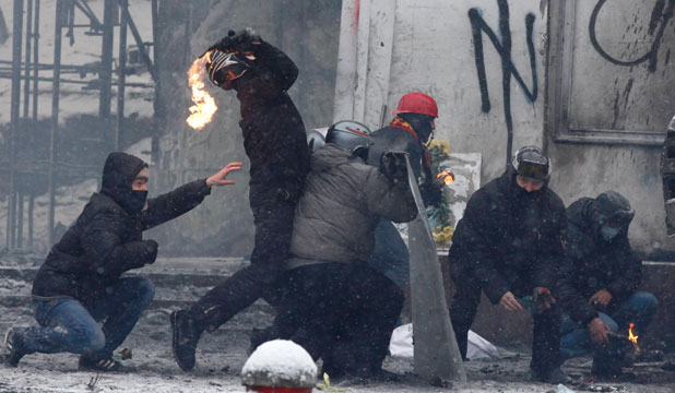 Protesters in Kiev, January 22