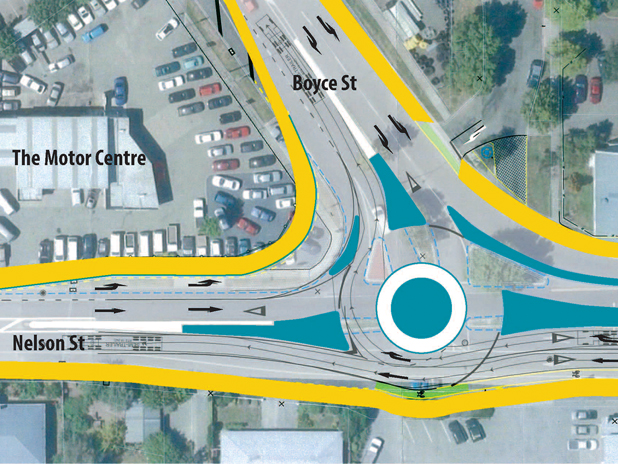 New layout: The blue areas indicate the new roundabout and traffic islands while the yellow areas indicate the sidewalk.