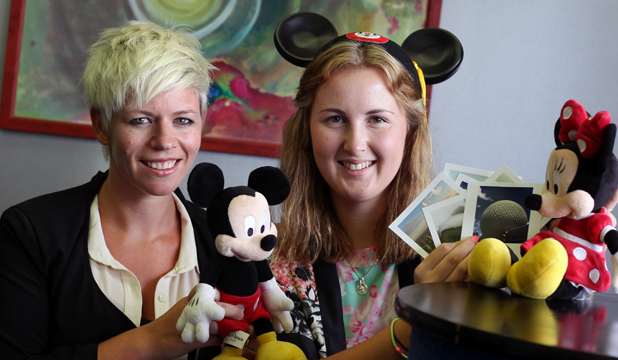 DISNEY DREAM: Aoraki Polytechnic Tourism tutor Anna Nichol, left, and Shawni Hammond who has just got back from her 5 month work experiences at Disney World.
