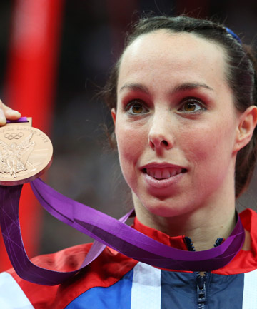 A CHAMPION: Elizabeth Tweddle poses with the bronze medal after the Artistic Gymnastics Women's Uneven Bars final on Day 10 of the London 2012 Olympic Games.