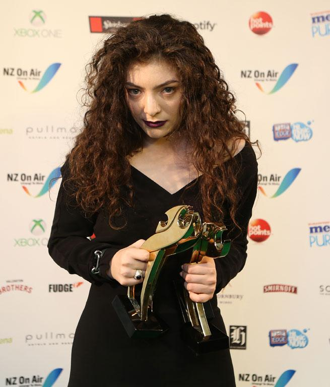 Lorde with her awards at the Vodafone Music Awards.