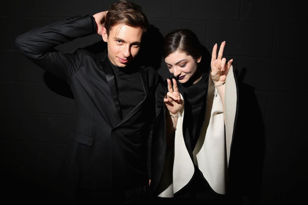 Flume and Lorde pose backstage at the 27th Annual ARIA Awards.