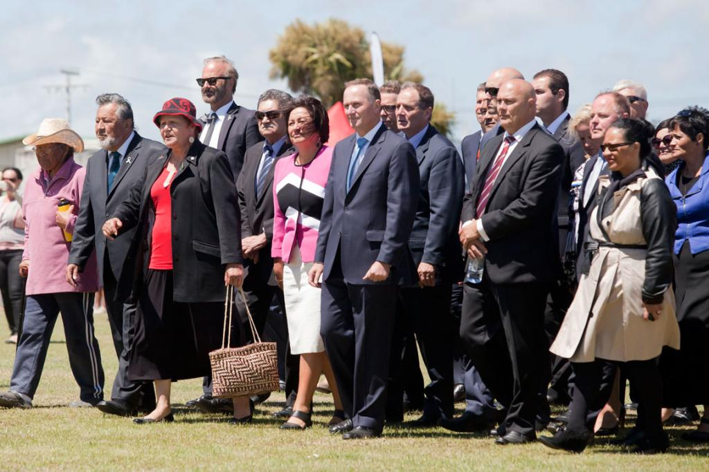 Prime minister John Key and members of the National party arrive at Ratana.
