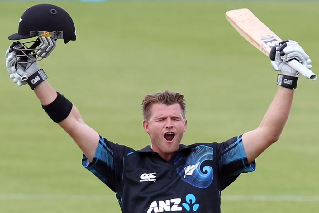 Corey Anderson celebrates his world record ODI century.