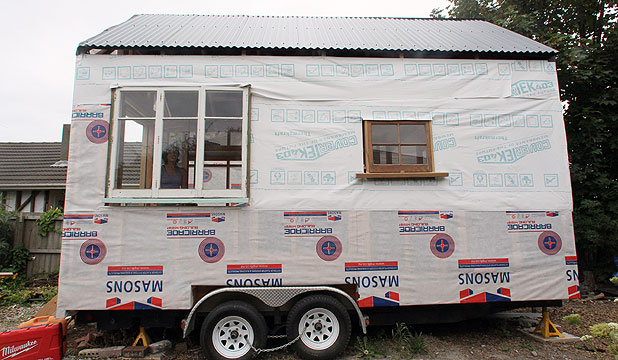 HOUSE ON WHEELS: Lily Duval's miniature house, under construction.