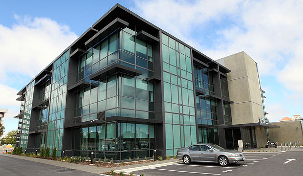 HEALTHY COMPETITION: Forte Health, the new glass-encased, private hospital in Kilmore St, Christchurch.