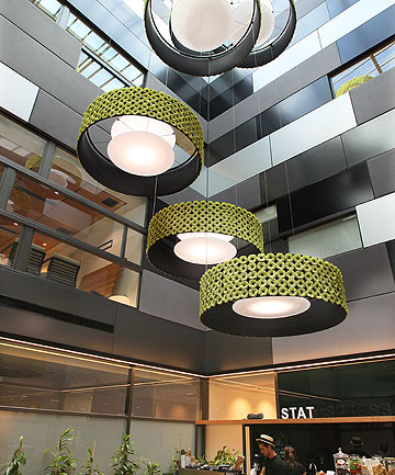 SOOTHING TONES: The lime-green flower lampshades displayed above the cafe of Christchurch's new private hospital, Forte Health.