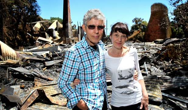 Only ashes and roofing iron remain after a fire destroyed John and Lynda Matthews' Omata home