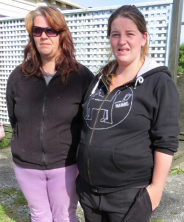 NEIGHBOURS: Dawn Tunnicliffe, left, and her pregnant daughter, Cody, witnessed last night's fatal police chase in Greymouth from the next-door house.