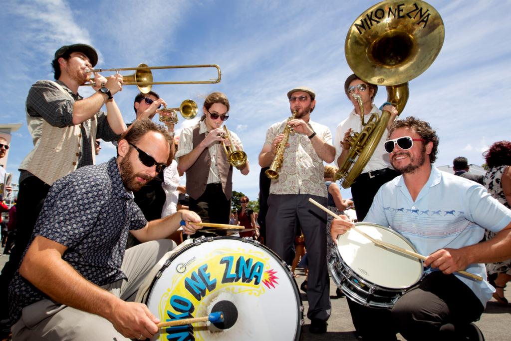 Baltic brass band Niko Ne Zna, from left, Kaito Walley, Ben Hunt, Daniel Windsor, Frankie Curac and Simon Grove. Front (L-R): Vlatko Materic and Darryn Sigley.