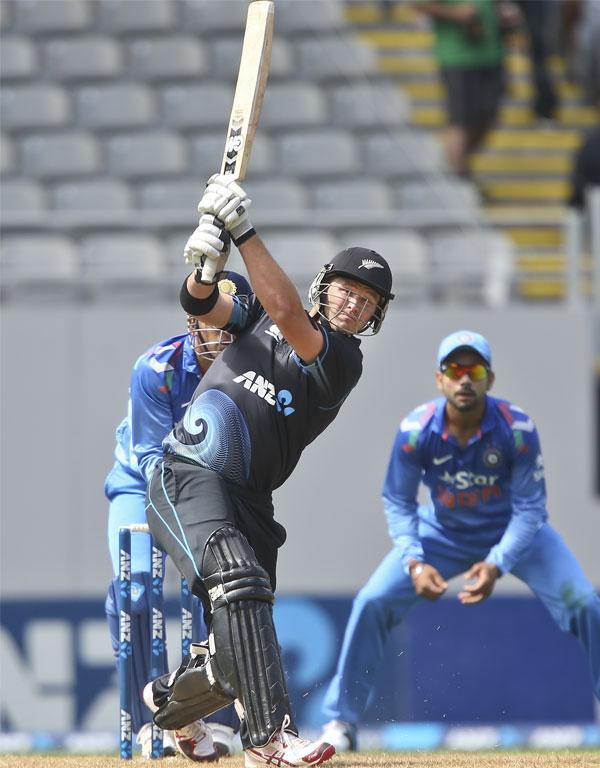 Corey Anderson launches into a big shot in the third ODI at Eden Park.