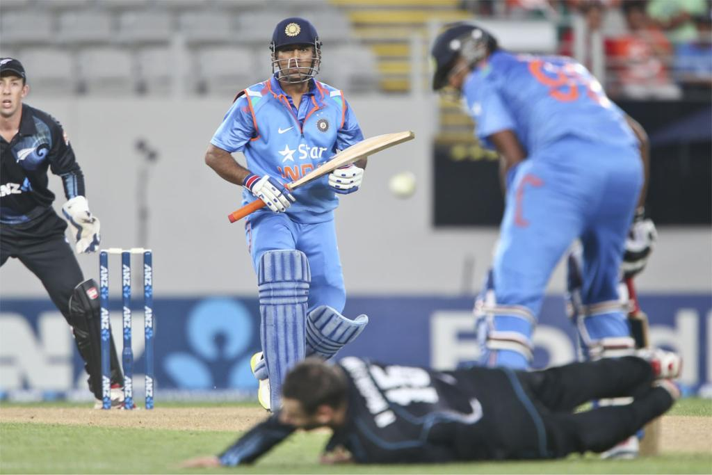 A shot from MS Dhoni beats the field in the third ODI.