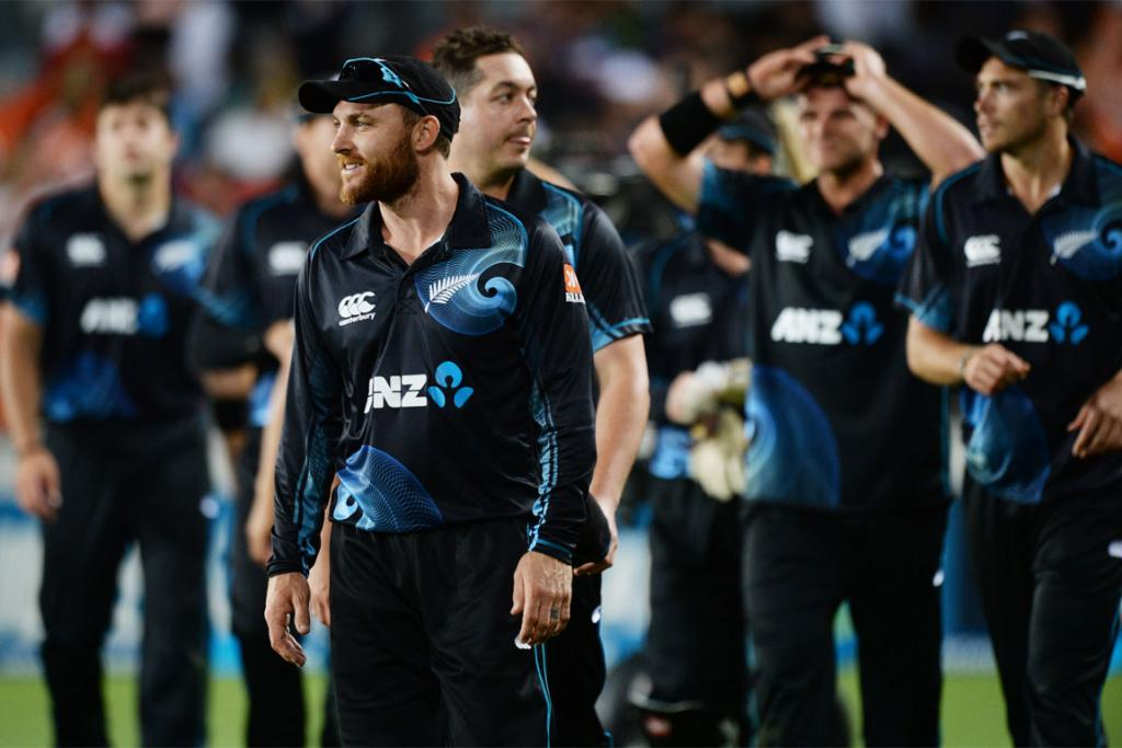 Brendon McCullum leads the New Zealand team from the field at the conclusion of the third ODI at Eden Park.
