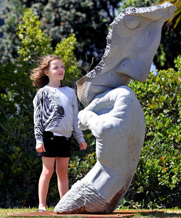 STONE SCULPTURE: Tanika Hodson, 7, was impressed with Malcolm Sowerby's Still Thinking sculpture.