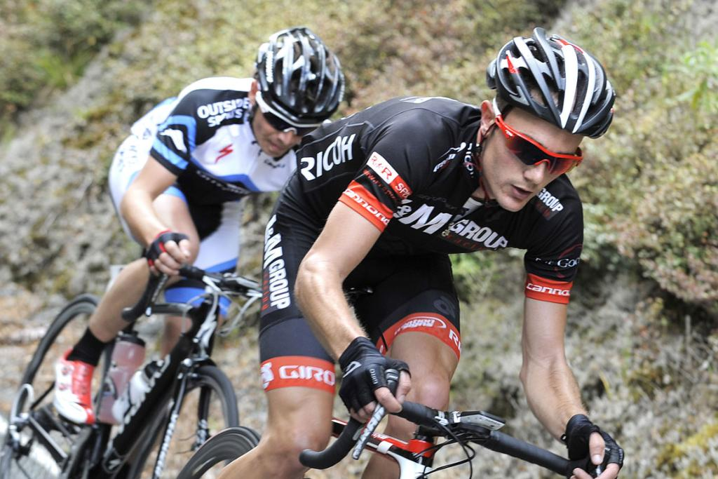 James Williamson from Alexandra leads Jim Hawkbridge, Queenstown during the 120km Milford Mountain Classic on Saturday Williamson went on to win alone from Hawkbridge second.