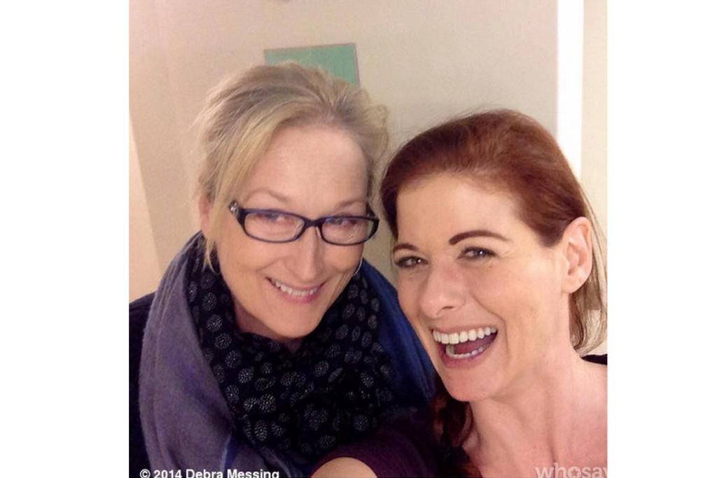 DEBRA MESSING: Deb's expression is the exact look I had on my face last Saturday morning when I woke up a bit dusty thinking I had an empty fridge only to discover a bonus can of Coke in the vege drawer: RED AMBULANCE! PS: God Meryl's a babe.