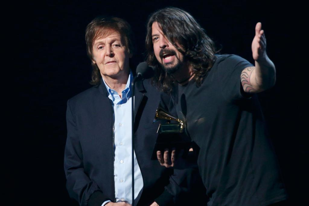 Dave Grohl and Paul McCartney accept the award for Best Rock Song for Cut Me Some Slack.