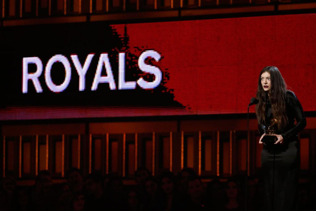 Lorde accepts the award for Best Pop Solo Performance for Royals.