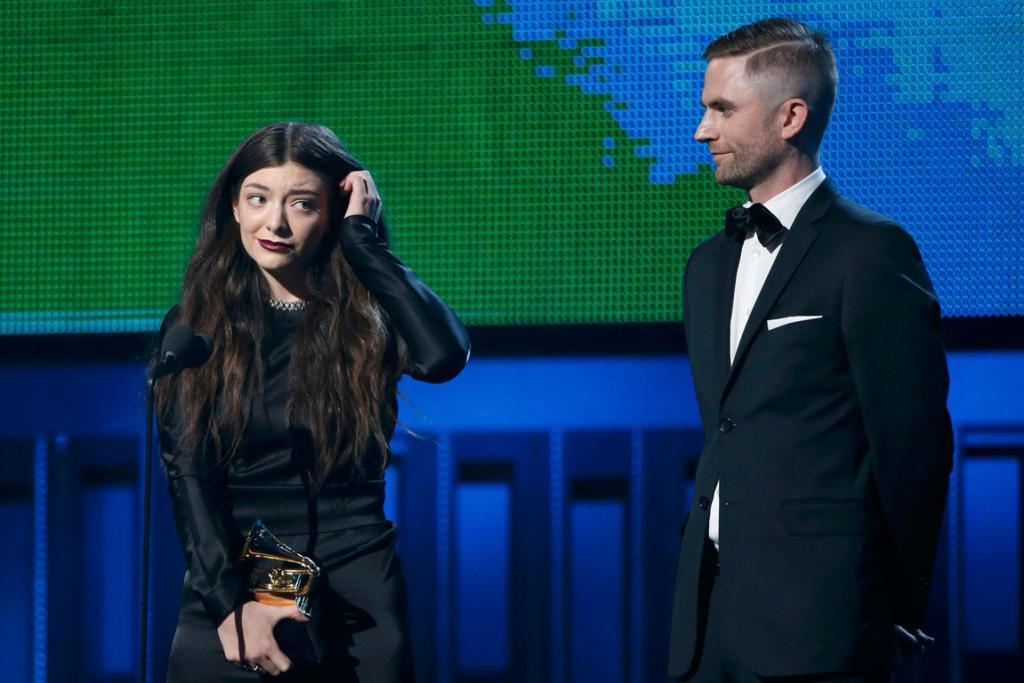 Lorde and Joel Little accept the Song of the Year award for Royals.