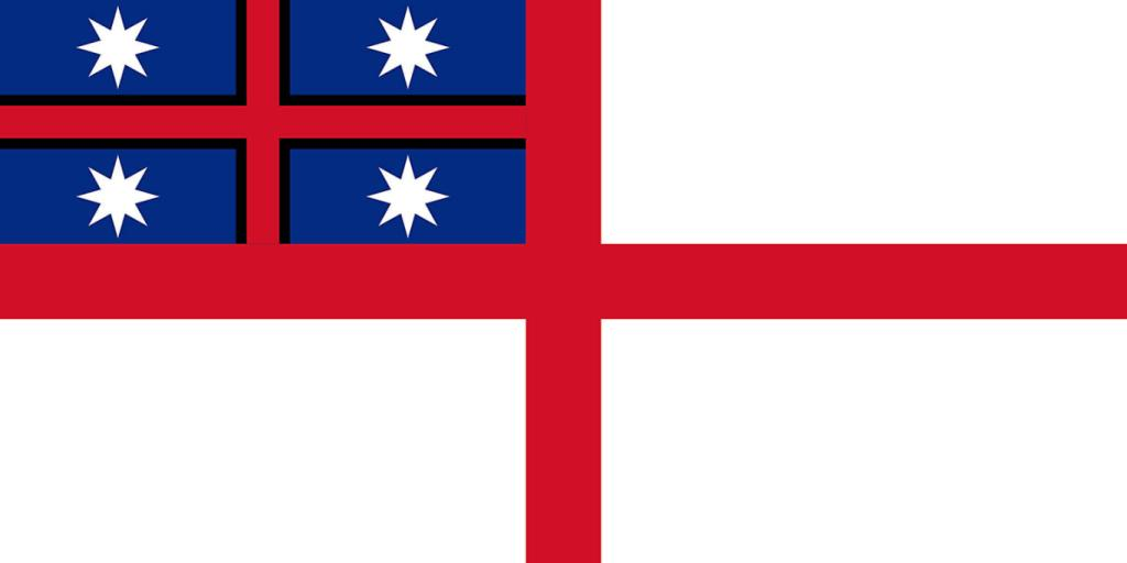 The original 1834 design for the flag of the United Tribes of New Zealand, currently used as a flag by Maori groups in New Zealand.