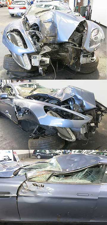 The wrecked Aston Martin Rapide at Turners Car Auctions.