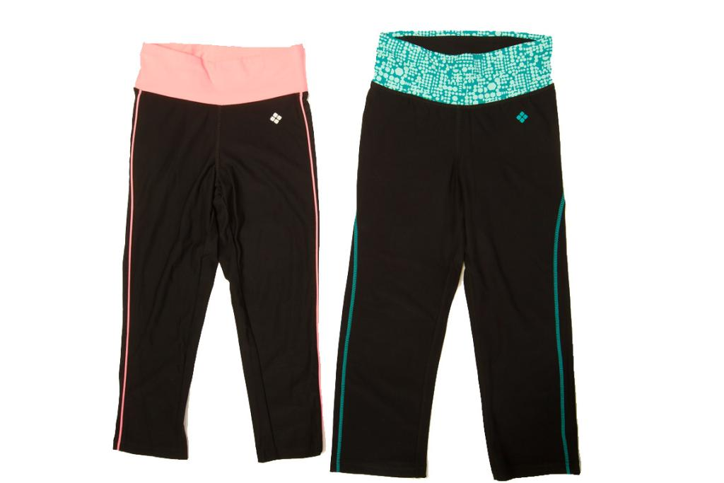 MORE CAPRIS: Two-tone workout leggings, $20, Kmart. If you love to colour coordinate with your bright Nike sneakers, Kmart offers these great options, which are crafted from a thick yet stretchy material.