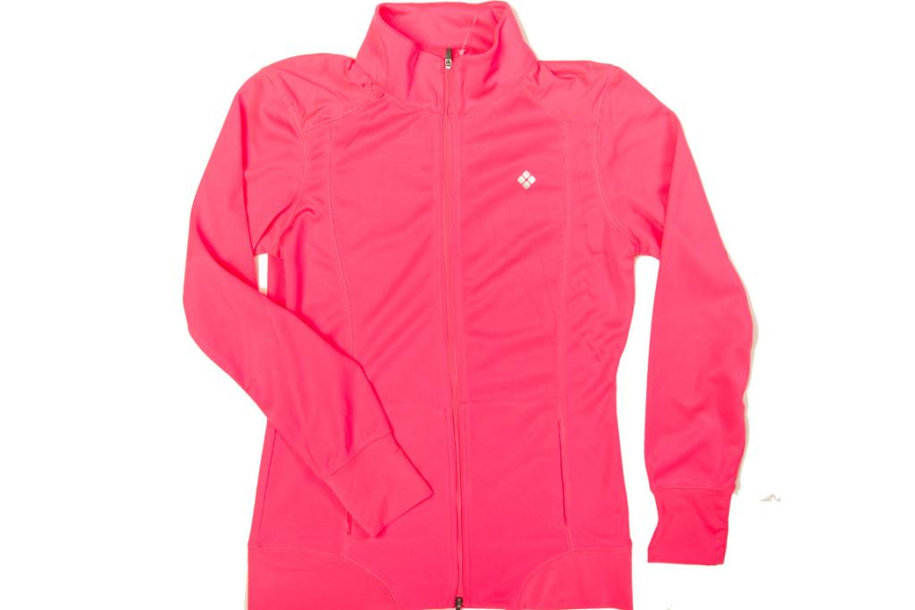 COVER UP: Fluoro pink jacket, $20 at Kmart. This snug-fit jacket is a) pretty styling b) so bright it's a great safety tool for dawn or dusk runs and c) light enough that it'll keep you from freezing but without turning your daily constitutional into a Bikram run.