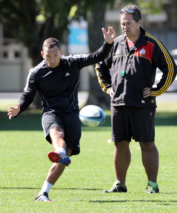 CLOSE EYE: Chiefs coach Dave Rennie casts a watchful gaze over key playmaker Aaron Cruden during training yesterday.