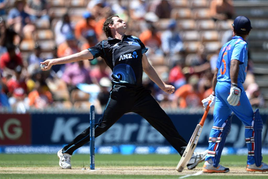 Kyle Mills bowls during the first innings of the fourth ODI against India in Hamilton.