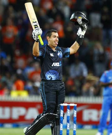 LEADING TO VICTORY: Ross Taylor scored his century in the fourth ODI against India at Seddon Park in Hamilton.