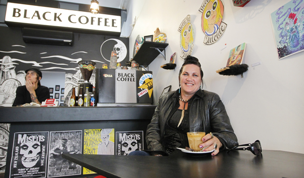 ARTY: Suzanne Tamaki likes the art at Black Coffee.