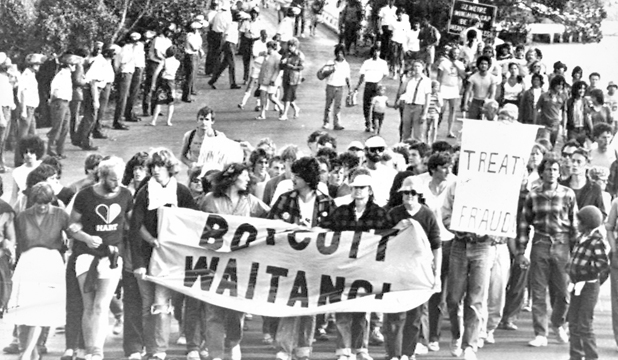 RIGHTING WRONGS: Waitangi Day protests in 1983.