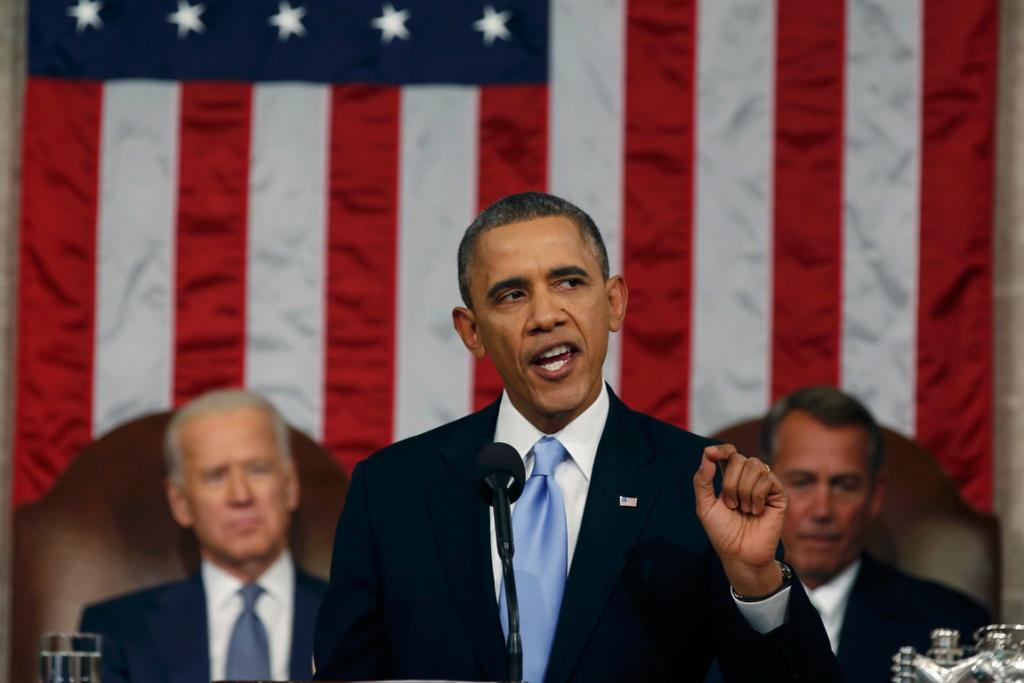 President Barack Obama delivers his State of the Union speech on Capitol Hill in Washington DC.