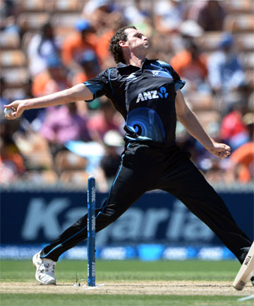 FINE FORM: Kyle Mills in full flight during Tuesday's fourth ODI against India in Hamilton.