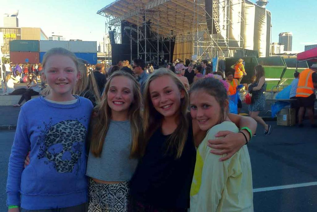 LOYAL FANS: Scarlett Davies, Zia Walters, Zoe Martin, Zarife Jarvis - all 11 years old and big Lorde fans - await her gig.