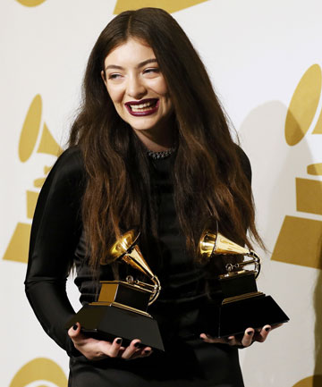 PROUD MOMENT: Lorde with the two Grammy awards she won on Monday.
