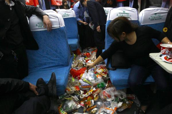 China trash train