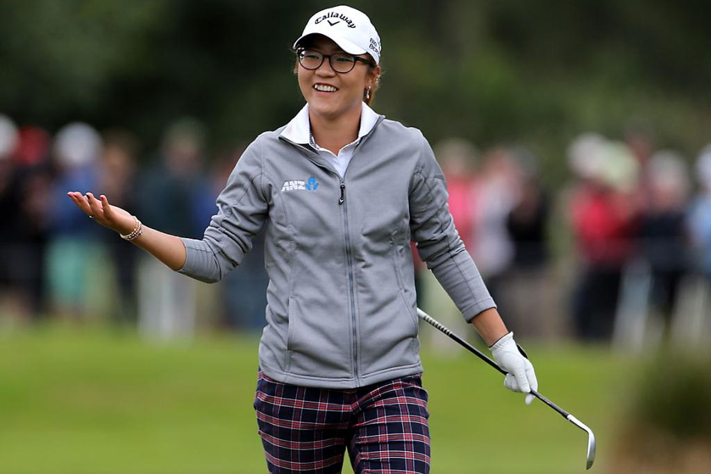 NICE ONE: Lydia Ko celebrates chipping in for birdie on the last hole.