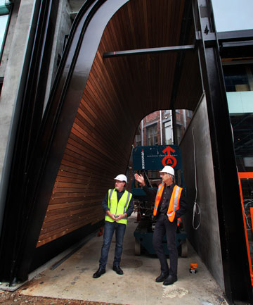SENSE OF DISCOVERY: Eamonn Stockman, project manager and Jasper van der Lingen, director of Sheppard and Rout, stand in a laneway that leads to a courtyard in the new Stranges building.