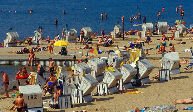 BEACH ZONE: The shores of lake Wannsee, Berlin.