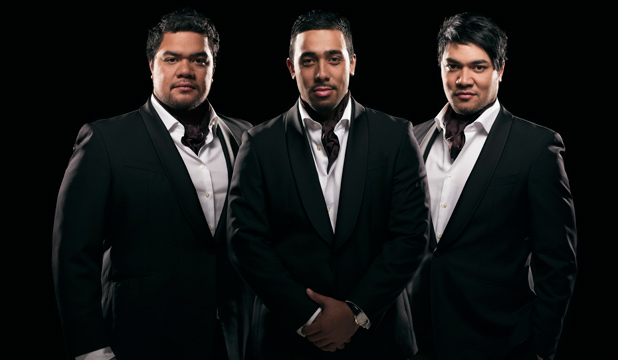 BROTHERLY BANTER: Sol3 Mio's Moses Mackay, centre, with cousins Pene and Amitai Pati