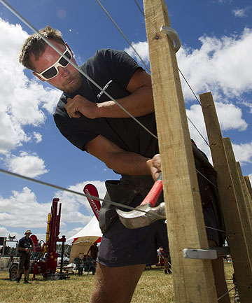 Taupo fencer Blair Eade competing in the speed fencing challenge at the Grasslandz Expo near Eureka.