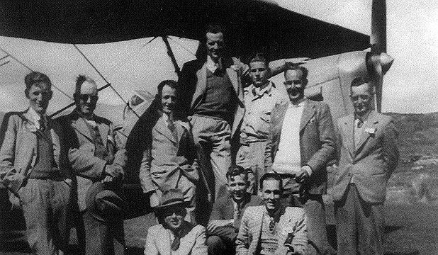 FLYING BUDDIES: Max Heath, third from the right in the back row, with some of the Takaka Aero Club members at Puramahoi in 1946.