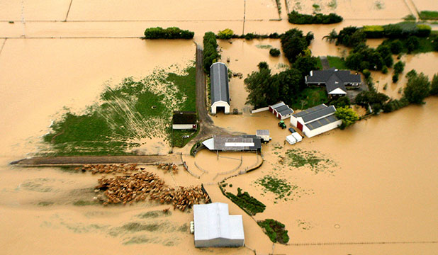 FLOODED IN: Photo taken of a paddock and home between Palmerston North and Feilding.