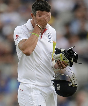 CONTENTIOUS: Kevin Pietersen leaves the field after his controversial dismissal in the third Ashes test.